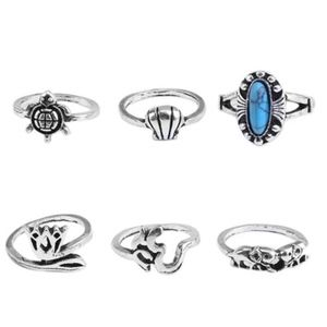 Jewelry - PREVIEW! Silver Turquoise Chakra Turtle Midi Rings